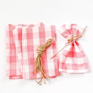 Pink White Vintage Gingham Party Favor Bags
